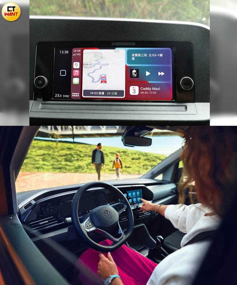 功能設定集資訊顯示整合於觸控式中控螢幕,大量減少傳統的旋鈕及按鍵。(圖/:王永泰攝、下:福斯商旅提供)