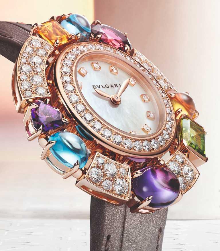 BVLGARI「ALLEGRA」系列,玫瑰金彩寶腕錶,36mm,玫瑰金錶殼,自製精準石英機芯╱896,000元。(圖╱BVLGARI提供)