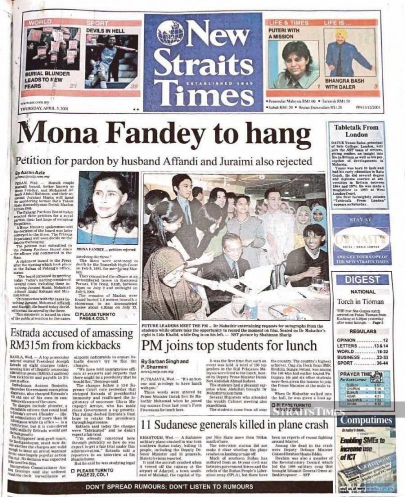 2001年10月2日凌晨5點59分的加影監獄,莫娜夫婦和祖萊迪一起被送上絞刑台。(圖/翻攝自New Strait Times)