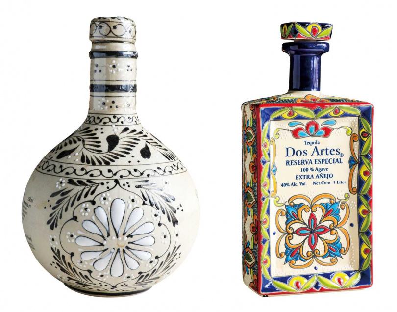 由於Tequila深受印加文化影響,許多酒廠推出色彩繽紛的陶瓷瓶身,極富藝術價值。(圖/馬景平攝)