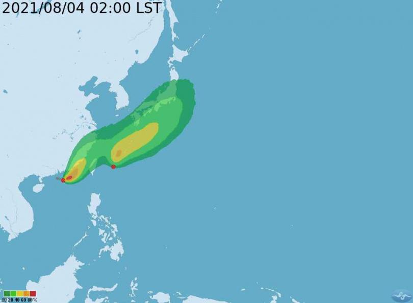 暴風圈侵襲機率。(圖/中央氣象局)