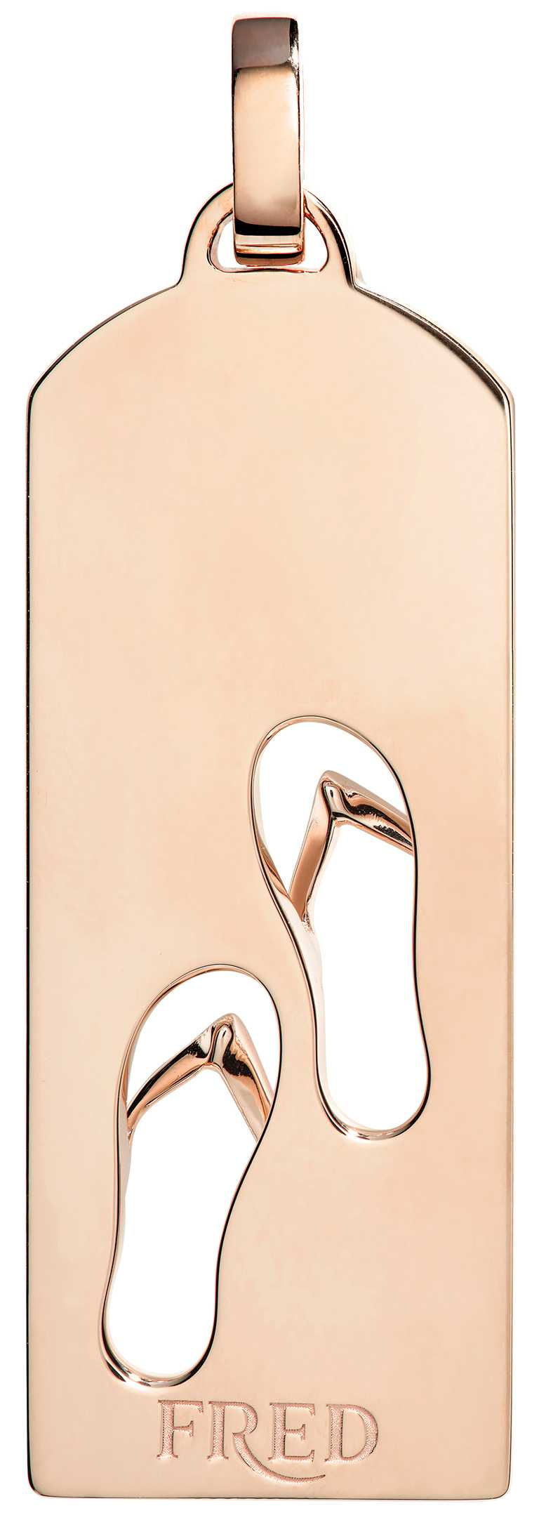 FRED「Riviera」系列,沙灘鞋鑽飾玫瑰金鍊墜(反面)╱169,600元。(圖╱FRED提供)