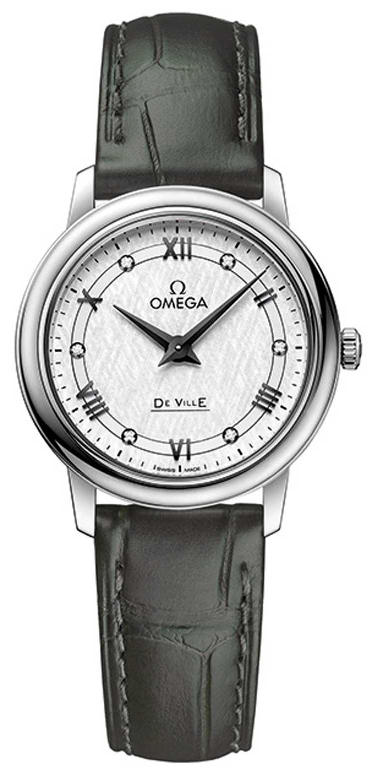 OMEGA「De Ville碟飛」系列,Prestige典雅腕錶,27.4mm,不鏽鋼錶殼,1376型石英機芯,鑽石6顆╱90,000元。(圖╱OMEGA提供)