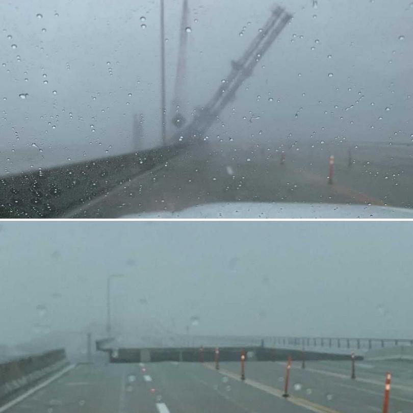 彭薩科拉海灣大橋橋身因洪水消失。(圖/翻攝自SRC_EM推特)