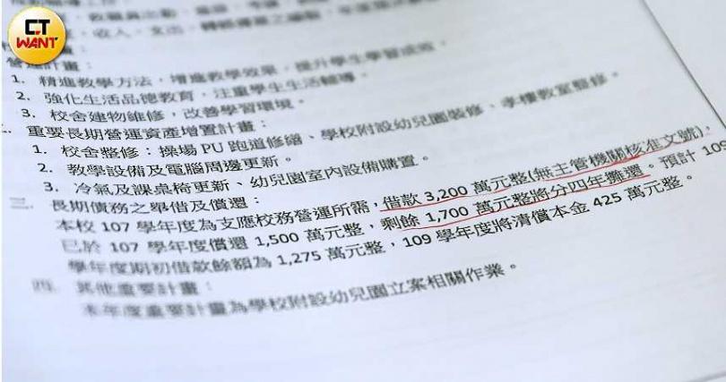 及人中學董事長林靜雯在2018年未經過全體董事同意,擅自用私人貸款的方式借了3200萬。(圖/王永泰攝)