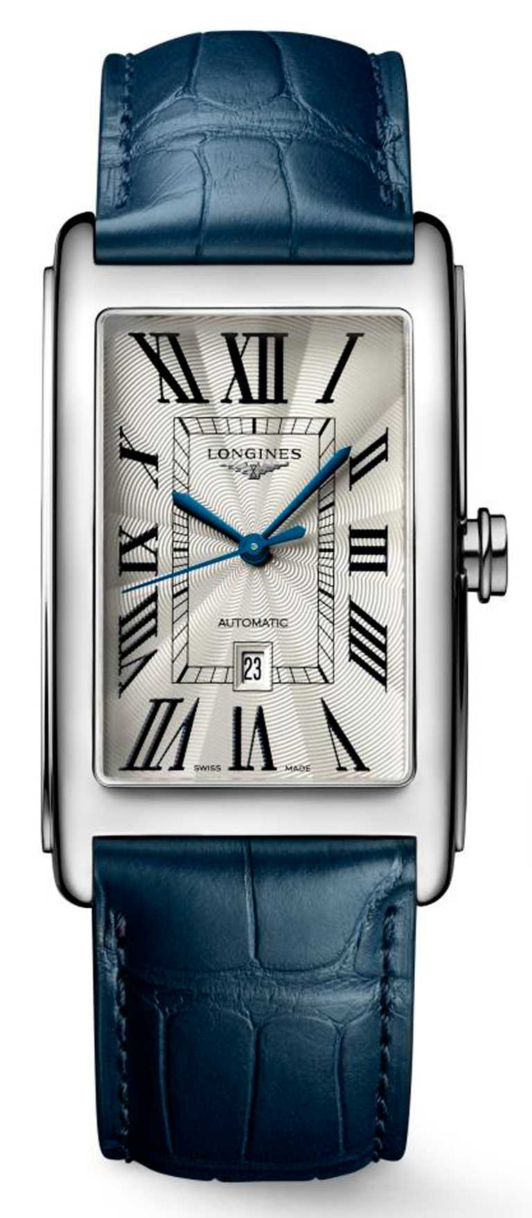 LONGINES「DolceVita多情」系列,銀色面盤羅馬時標男士腕錶,不鏽鋼錶殼,28.2 x47mm,L592自動上鏈機芯,藍色皮革錶帶╱51,900元。(圖╱LONGINES提供)