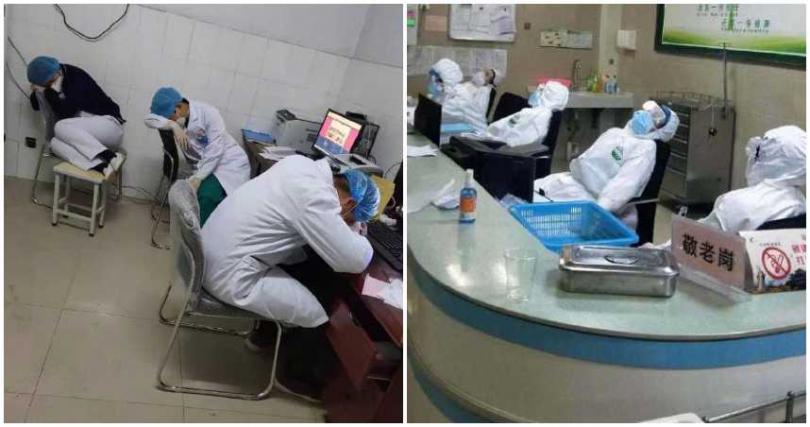 第一線醫護人員的睡姿,讓網友看了十分心疼,紛紛留言為他們加油打氣。(圖/微博)