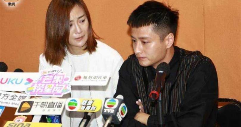 醜聞爆發後,朱智賢在男友謝東閔的陪同下開記者會。(圖/翻攝自東網)