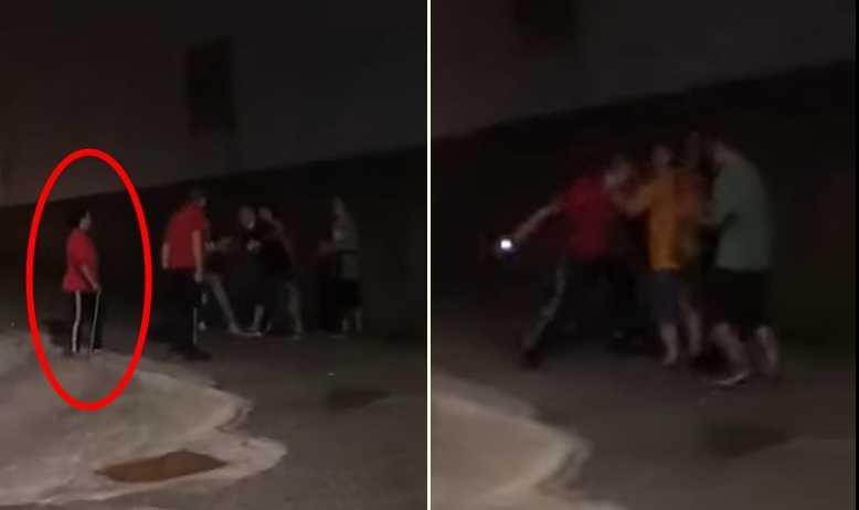 圖左可見房客手持鐵鉤,圖右為電擊棒攻擊畫面。