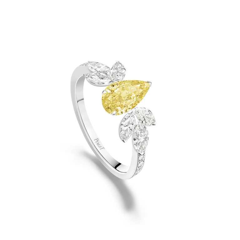 PIAGET「Treasures Collection」系列,18K白金黃鑽高級珠寶戒指。(圖╱PIAGET提供