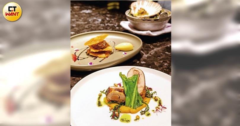 「雞肉鵝肝捲及山野菜」雞肉經「舒肥法」低溫烹調,煎香後搭配奶油南瓜泥、松子、紅莧菜青醬。(攝影/焦正德)