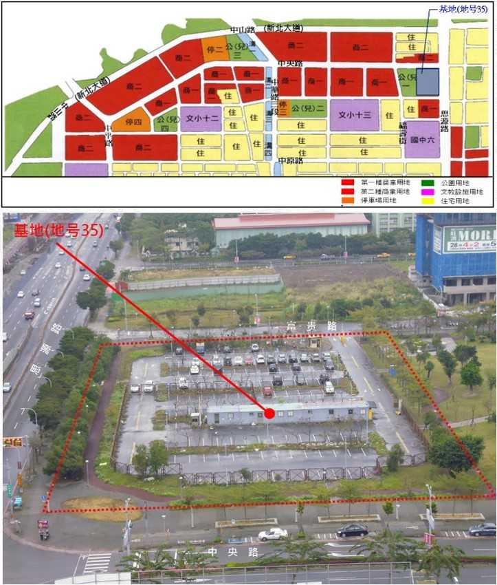 停2(圖中橘色標示處)就是當初新莊區副都心都市計畫中,規劃為停車場預定地,現在卻變成百貨商場。(圖/新北市議員鍾宏仁服務處提供)