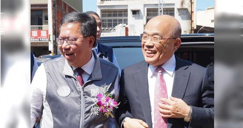 閣揆蘇貞昌數度點名桃園市長鄭文燦是下屆總統,更積極為他在政壇開路。(圖/報系資料照)