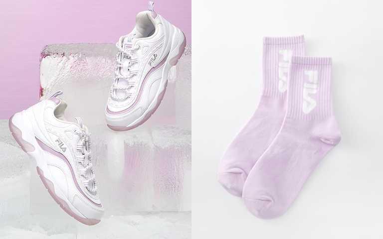 FILA RAY ICY冰晶版雪沐紫球鞋/2,480元  搭配同色系的短襪更可愛。(圖/品牌提供)