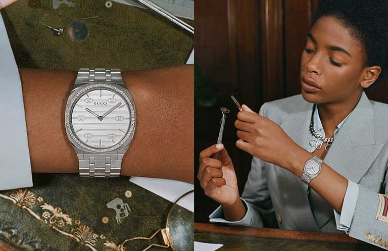 GUCCI「25H」系列腕錶,34mm,不鏽鋼錶殼鑲鑽,石英機芯╱126,000元。(圖╱GUCCI提供)