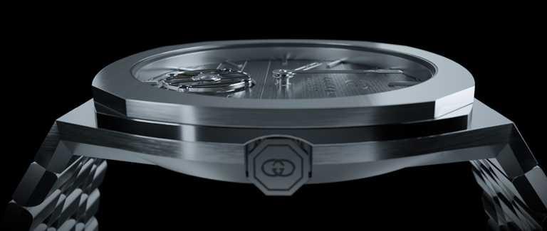 GUCCI「25H Tourbillon」鉑金陀飛輪腕錶,40mm,鉑金錶殼,GG727.25型陀飛輪機芯╱價格店洽。(圖╱GUCCI提供)
