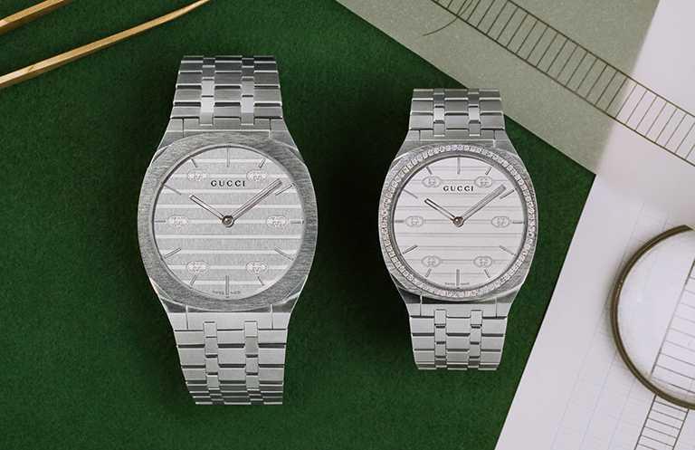 GUCCI「25H」系列石英腕錶,(左)38mm,不鏽鋼錶殼╱52,000元;(右)34mm,不鏽鋼錶殼鑲鑽╱126,000元。(圖╱GUCCI提供)