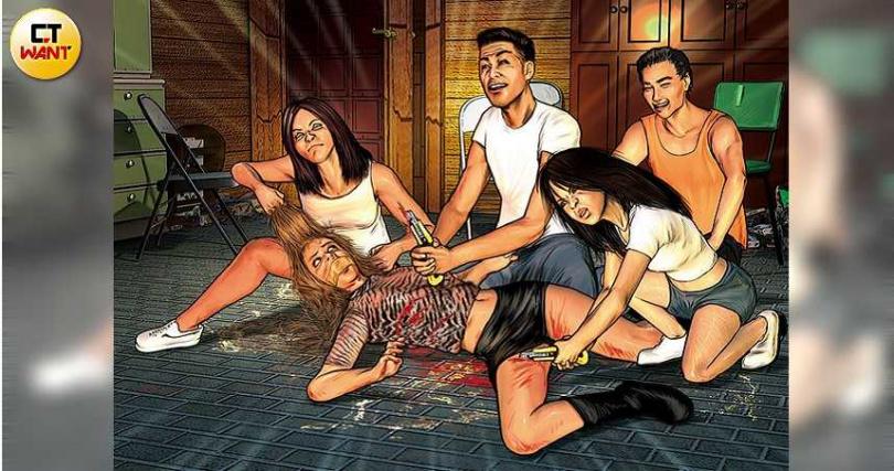 潘男、陳女等人在檳榔攤二樓「圍殺」櫻花妹,還拿大支美工刀對她施「剮刑」。(圖/本刊繪圖組)