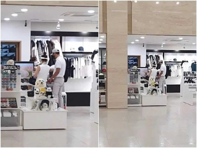 玄彬和孫藝珍逛街,被粉絲拍到兩人「約會放閃」畫面。(圖/翻攝自迷妹速報微博)