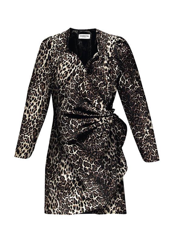 Essentiel AntwerpLeopard-Print AsymmetricalMini Wrap Dress/約12,700元(圖/品牌提供)