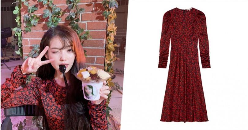 Maje FW19 黑紅碎花長洋裝/12,750元。(圖/Maje提供)