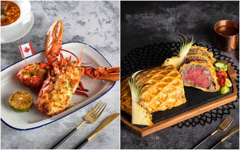 起司焗烤龍蝦(左)、威靈頓牛排。(圖/香格里拉台北遠東國際大飯店提供)