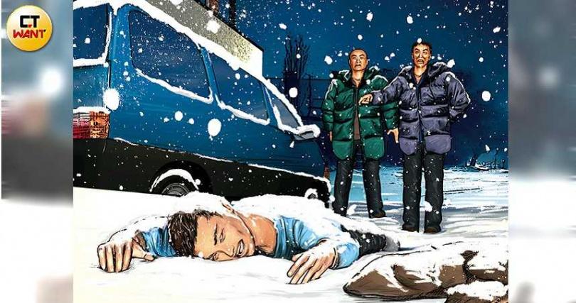 朱男在命令徐男外出賞雪後就離開,直到天亮才假意開始找人,最後如願看到徐男凍死的屍體。(圖/本刊繪圖組)