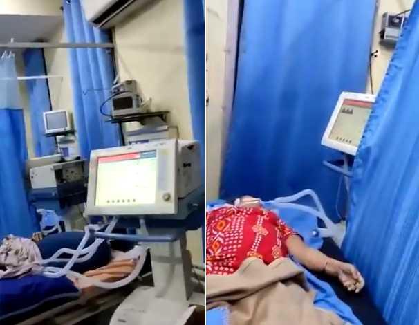 印度醫護人員逃離加護病房。(圖/翻攝自@SreenivasanJain推特)