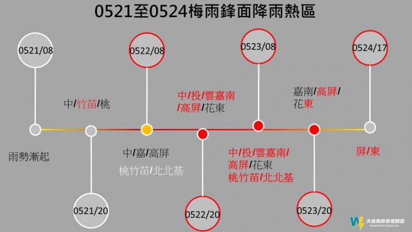 未來四天的全台降雨熱區圖。(圖/翻攝臉書)