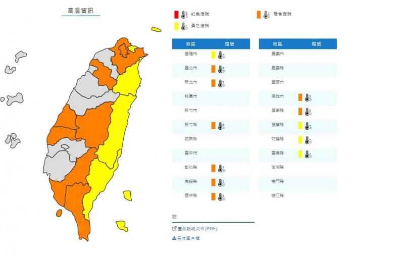 氣象局針對12縣市發布高溫警訊。(圖/中央氣象局)