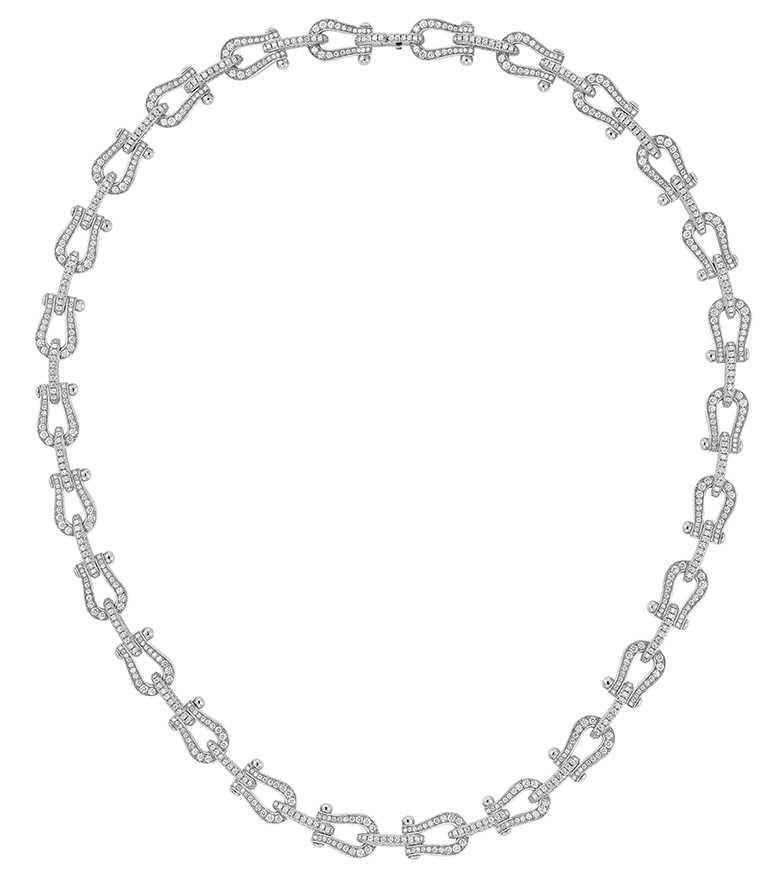 FRED「Force 10」高級珠寶系列,白鑽鑽石項鍊╱1,830,900元。(圖╱FRED提供)