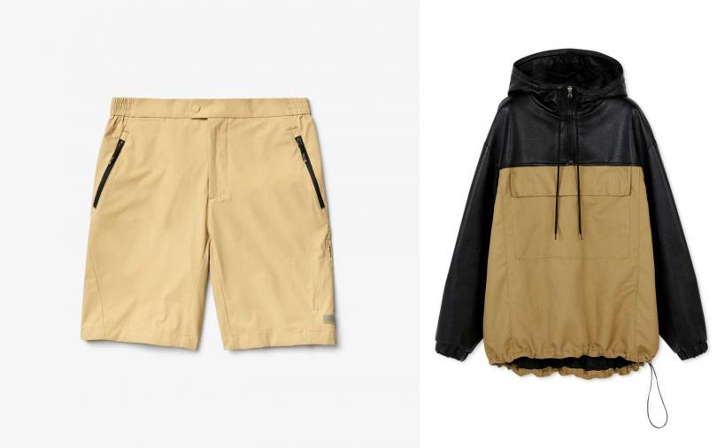 LACOSTE卡其色黑色拉鍊口袋短褲 /4,880元Stella McCartney 雙色仿皮革圍衣/57,300元。(圖/品牌提供)