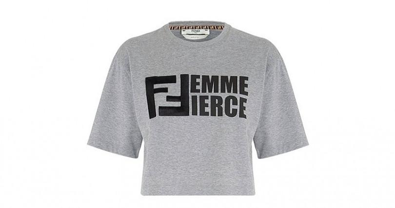 Fendi淺灰色女性棉質T恤/19,800元