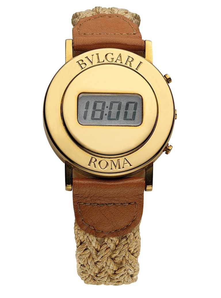 1975年,寶格麗為百位頂級VIP所限量打造的圓形「BVLGARI ROMA」電子腕錶。(圖╱BVLGARI提供)