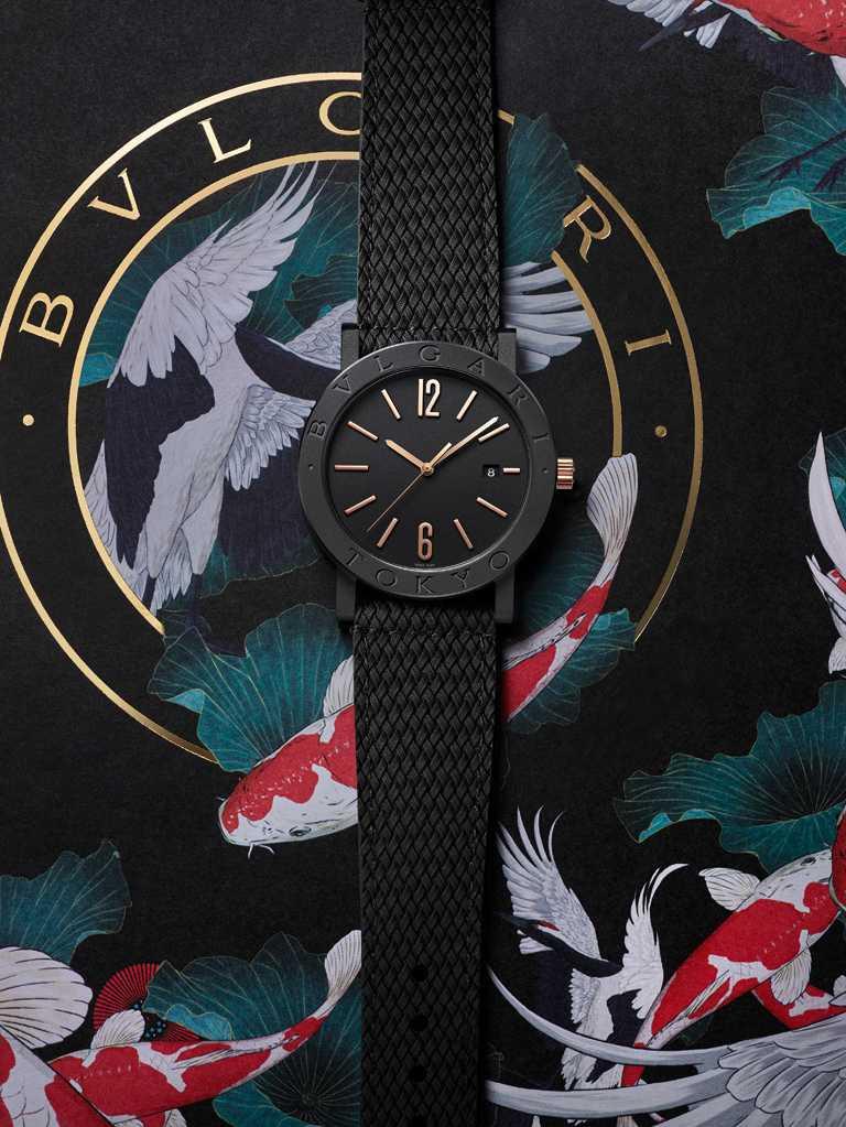 東京代表藝術家Faunesque,為BVLGARI「BVLGARI CITIES城市系列」TOKYO特別版腕錶繪製插畫。(圖╱BVLGARI提供)