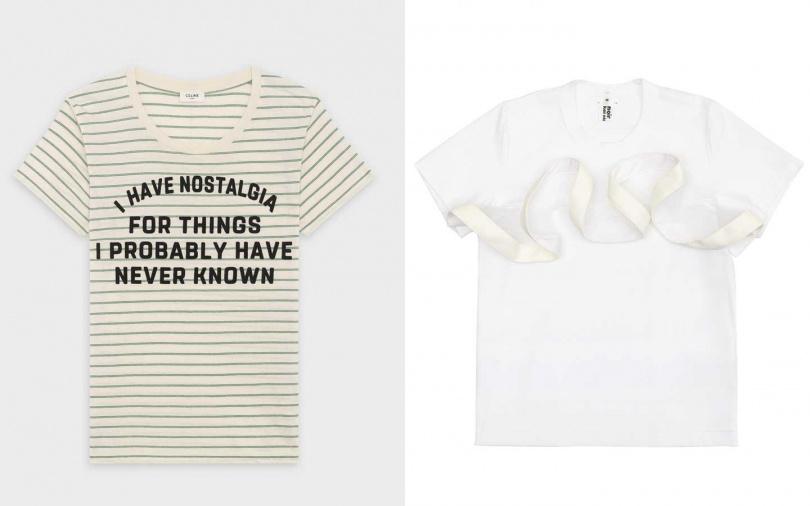 這兩款都很推薦>>CELINE跨界合作藝術家DAVID KRAMER標語口號條紋T恤/16,000元、Comme des Garcons Noir裝飾波浪白色T恤by 團團選品/10,200元。(圖/品牌提供)