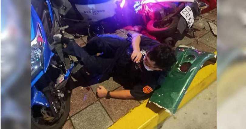 受傷員警。(圖/擷取自臉書社團內湖讚)<br>