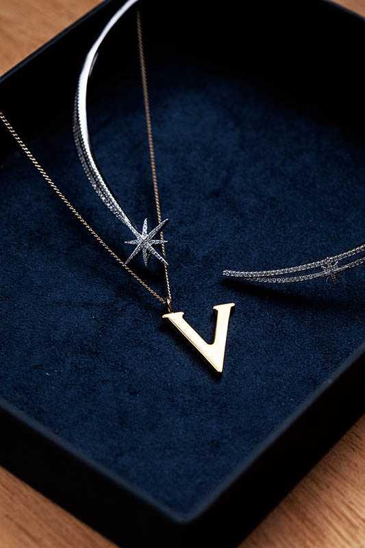 APM Monaco 流星頸鍊/9,500元 Chloé 字母項鍊/約9,000元(攝影/莊立人)