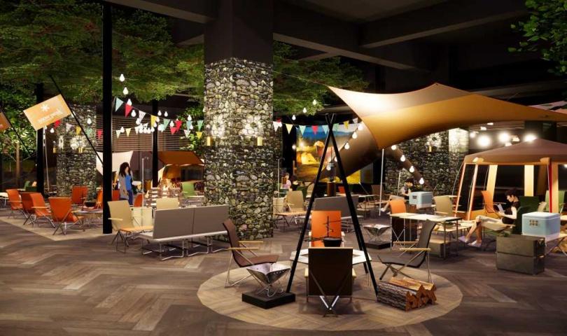 位於飯店2樓的「逸.市集」,是全台唯一設有「BBQ室內露營野餐區」的Buffet餐廳。(圖/COZZI Blu 和逸飯店)