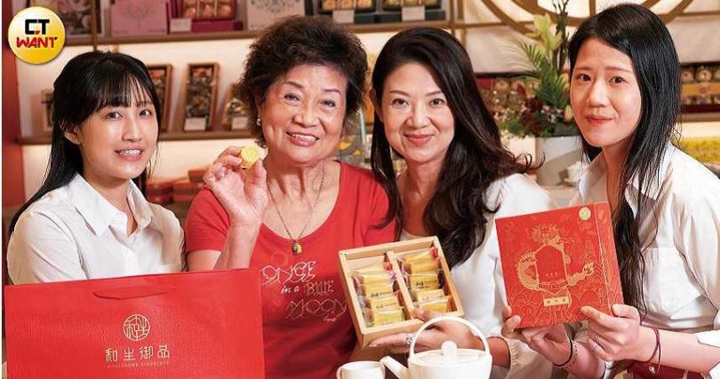 母女三代同心協力要把和生御品發揚光大。(左起邱珺、陳簡寶星、陳惠萍、邱茗)(圖/張文玠攝)
