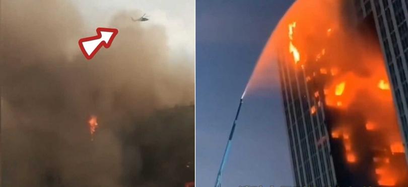 大連市消防局出動直升機、101公尺高的平台消防車前往救援。(合成圖/微博)