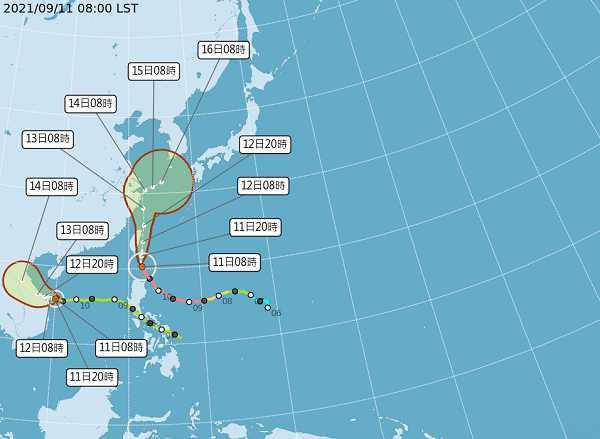 璨樹颱風未來路徑。(圖/中央氣象局)