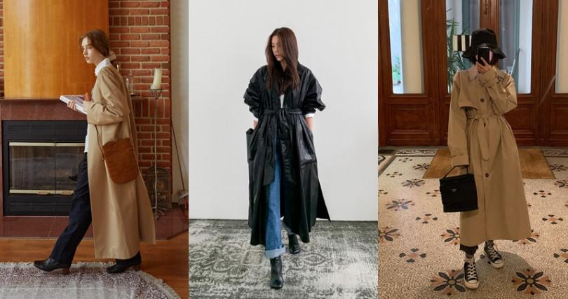 一件就穿出率性、優雅、個性與隨興感,風衣是入冬必買的單品。(圖/翻攝自CHUU、11AM、THREE TO EIGHTY)