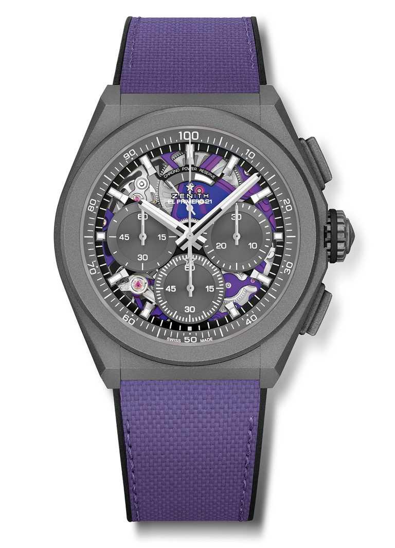 ZENITH「Defy El Primero 21 Ultraviolet」腕錶,微噴砂鈦金屬錶殼,44mm,El Primero 9004型自動上鏈機芯╱430,600元。(圖╱ZENITH提供)