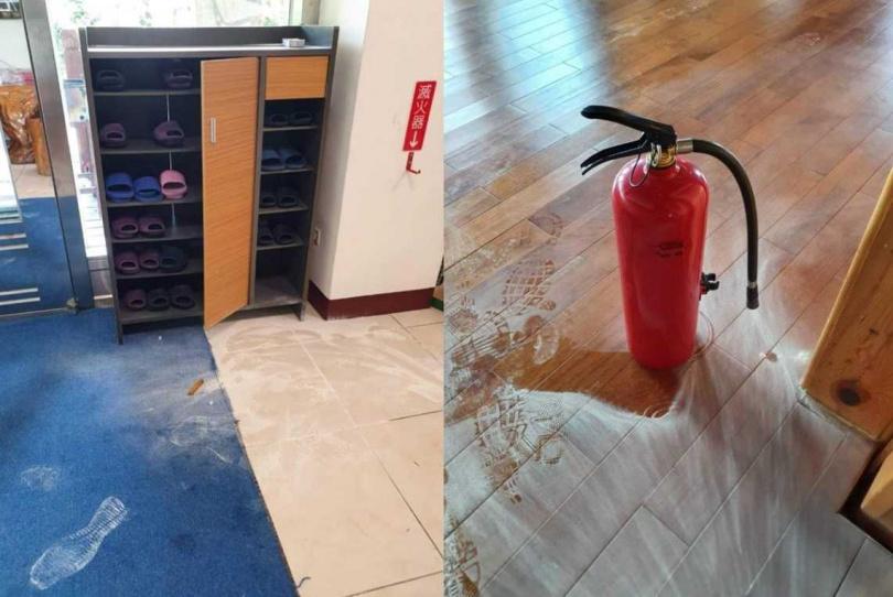 民眾住宿時大搞破壞,還拿滅火器來玩,屋內榻榻米也被弄髒令業者傻眼。(圖/翻攝自「爆料公社」)