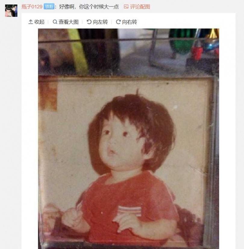 有網友PO出安以軒小時候的照片,果然娃寶長得像媽媽。(圖/安以軒微博)