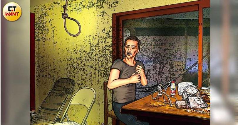 毒品交易破局,負責接洽的小育被人發現竟「以死謝罪」。(圖/本刊繪圖組)