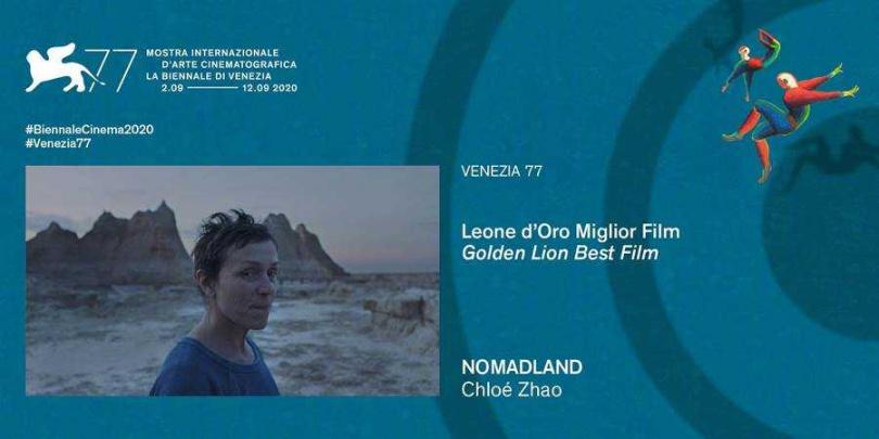 趙婷與法蘭西絲麥多曼的《游牧人生》拿下最佳影片金獅獎。(圖/摘自臉書)