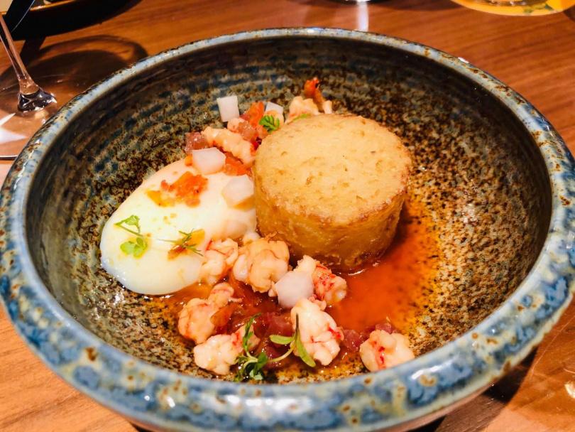 蘿蔔糕/胭脂蝦/溫泉蛋。(圖/余玫鈴攝)