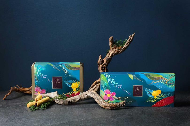 端午節蛋捲禮盒包裝以蘇軾〈浣溪沙‧端午〉為靈感,並用明亮繽紛的風格呈現。(圖/青鳥旅行提供)